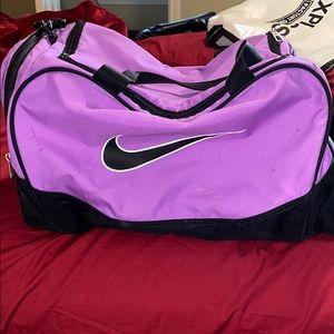 Stylish purple Nike gym bag
